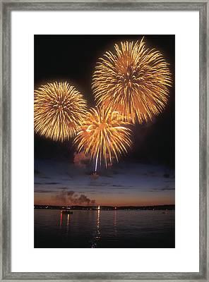 Lake Champlain Fireworks Framed Print by John Burk