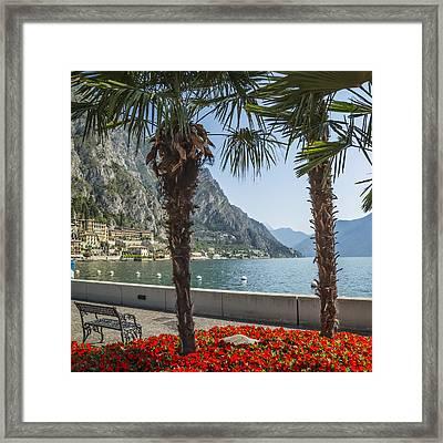 Lake Garda Gorgeous Riverside In Limone Sul Garda Framed Print by Melanie Viola