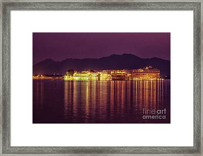 Framed Print featuring the photograph Lake Palace Night Scenery by Yew Kwang