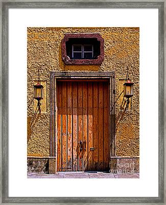 Lamps And Door Framed Print by Mexicolors Art Photography