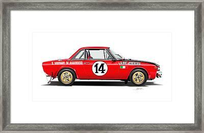 Lancia Fulvia Hf Illustration Framed Print by Alain Jamar