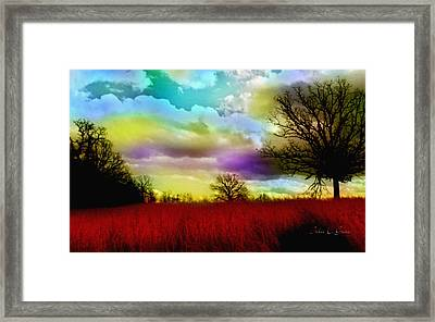 Landscape In Red Framed Print by Julie Grace