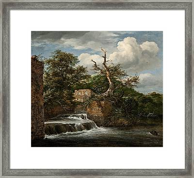 Landscape With A Mill-run And Ruins Framed Print