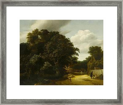 Landscape With A Village Road Framed Print by Cornelis Gerritsz
