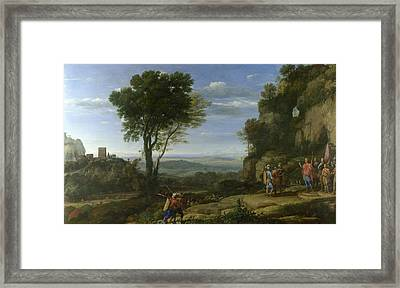 Landscape With David At The Cave Of Adullam Framed Print by Claude Lorrain
