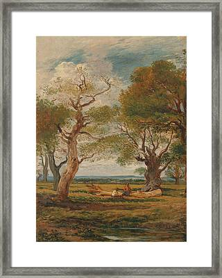 Landscape With Figures Framed Print by John Linnell