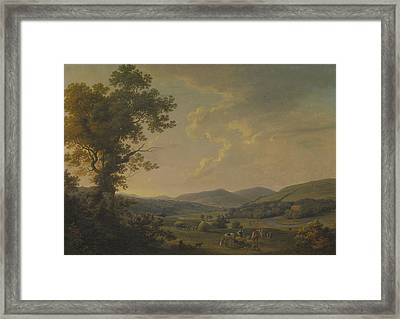 Landscape With Haymakers And A Distant View Of A Georgian House Framed Print