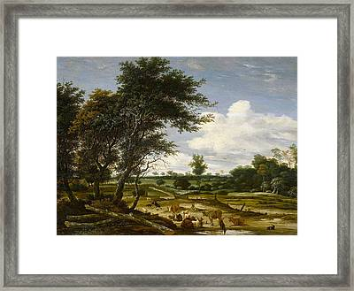 Landscape With Shepherd And Cattle Framed Print