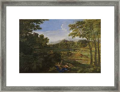 Landscape With Two Nymphs And A Snake Framed Print by Nicolas Poussin