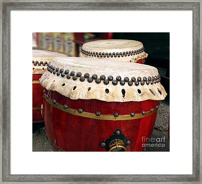 Large Chinese Drums Framed Print by Yali Shi