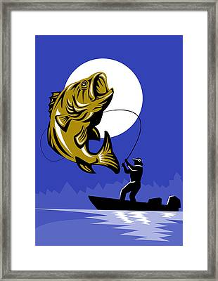 Largemouth Bass Fish And Fly Fisherman Framed Print