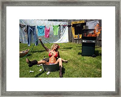 Laundry Day 3 Framed Print by Jean Macfal