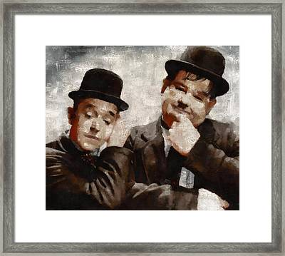 Laurel And Hardy Hollywood Legends Framed Print by Mary Bassett