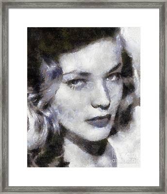 Lauren Bacall By Sarah Kirk Framed Print