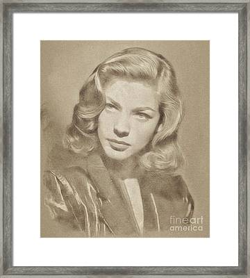 Lauren Bacall, Hollywood Legend By John Springfield Framed Print