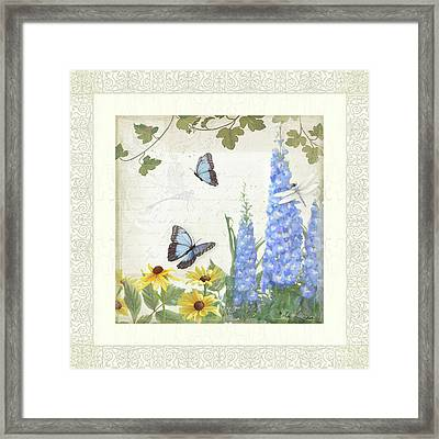 Le Petit Jardin 1 - Garden Floral W Butterflies, Dragonflies, Daisies And Delphinium Framed Print