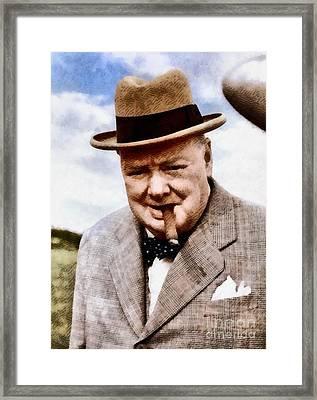 Leaders Of Wwii - Winston Churchill Framed Print