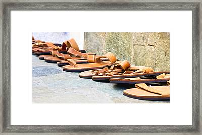 Leather Sandals Framed Print by Tom Gowanlock