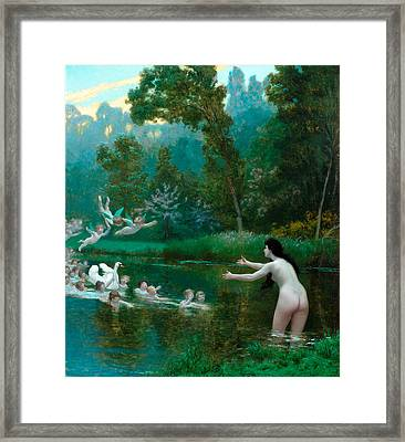 Leda And The Swan Framed Print by Jean-Leon Gerome