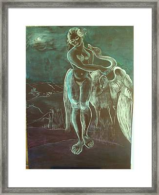 Leda And The Swan Framed Print by Michele D B