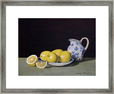 Lemon Cream Framed Print by Linda Tenukas