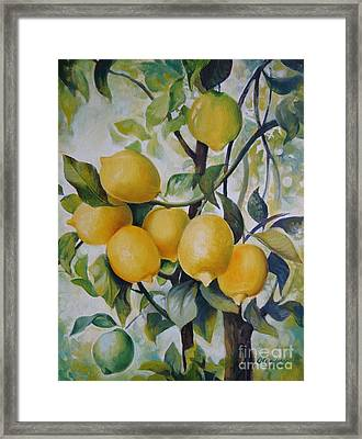 Framed Print featuring the painting Lemons by Elena Oleniuc