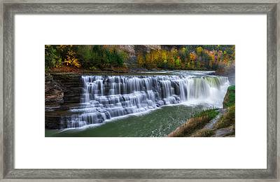 Framed Print featuring the photograph Letchworth Lower Falls by Mark Papke