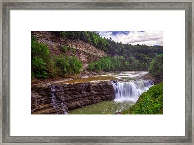 Framed Print featuring the photograph Letchworth State Park Lower Falls by Mark Papke