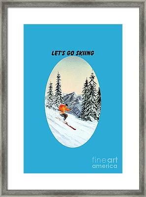 Framed Print featuring the painting Let's Go Skiing by Bill Holkham