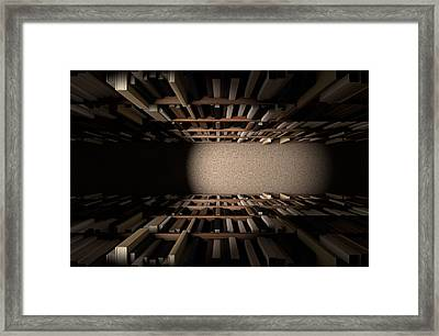 Library Bookshelf Aisle Framed Print