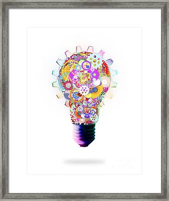 Light Bulb Design By Cogs And Gears  Framed Print