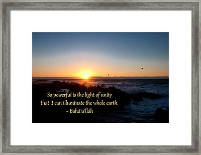 Framed Print featuring the photograph Light Of Unity by Baha'i Writings As Art