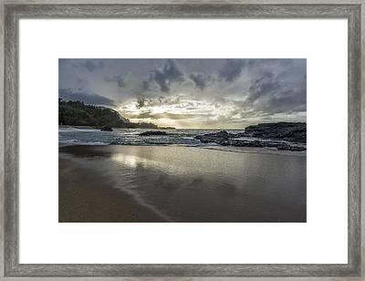 Light Shining On The Beach Framed Print