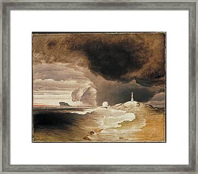 Lighthouse On The Norwegian Coast Framed Print by Peder Balke