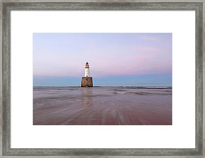Framed Print featuring the photograph Lighthouse Sunset by Grant Glendinning