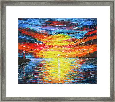 Framed Print featuring the painting  Lighthouse Sunset Ocean View Palette Knife Original Painting by Georgeta Blanaru