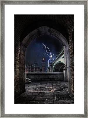 Lightning Storm Framed Print by Martin Newman