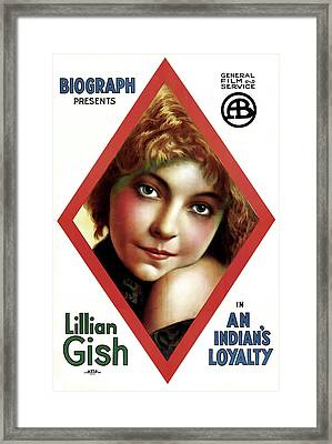 Lillian Gish In An Indian's Loyalty 1913 Framed Print by Mountain Dreams