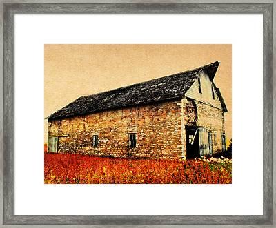Lime Stone Barn Framed Print