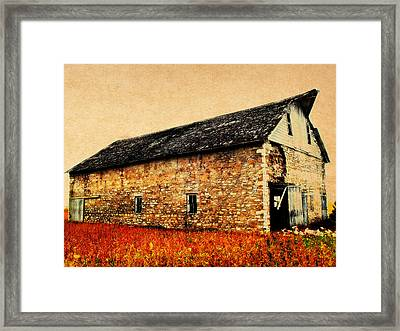 Lime Stone Barn Framed Print by Julie Hamilton