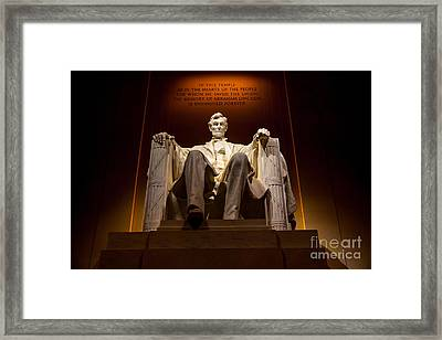 Lincoln Memorial At Night - Washington D.c. Framed Print