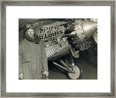 Lindbergh With His Airplane, 1928 Framed Print