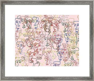 line faces I Framed Print