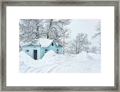 Little Blue House Framed Print by Svetlana Sewell