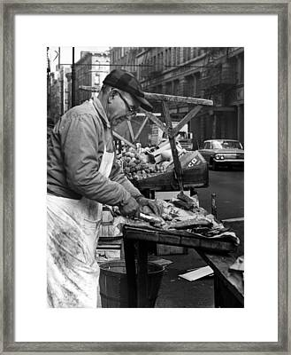 Little Italy, Charles Catalano Cleaning Framed Print by Everett