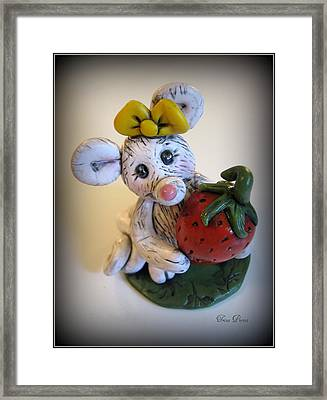 Little Mouse Big Strawberry Framed Print by Trina Prenzi