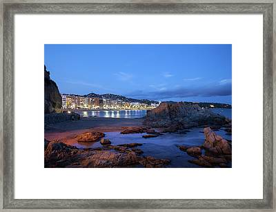 Lloret De Mar At Night Framed Print by Artur Bogacki