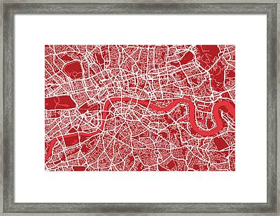 London Map Art Red Framed Print by Michael Tompsett