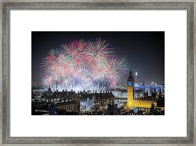 London New Year Fireworks Display Framed Print