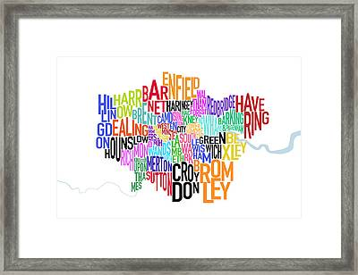 London Uk Text Map Framed Print by Michael Tompsett